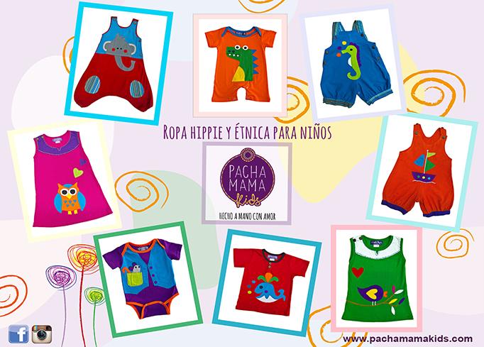 moda infantil hippie y colorida, vestidos, petos y pantalones hippies de primavera verano